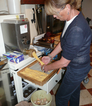 A photo of the working of homemade pasta